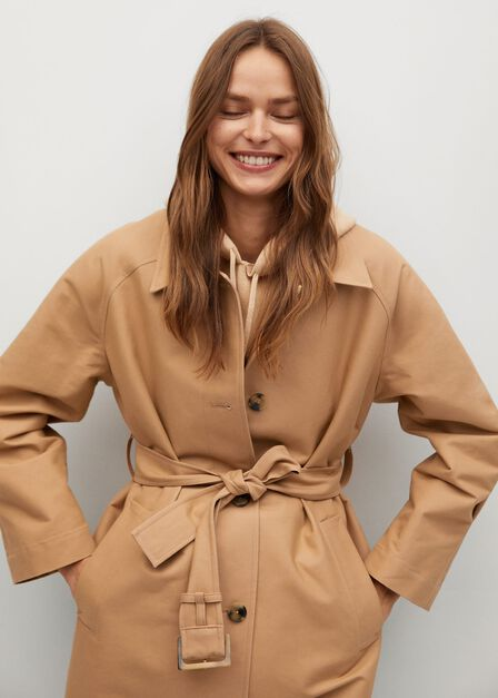 Mango - light beige Water-repellent cotton trench coat