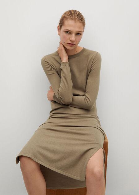 Mango - light beige Fine knitted dress