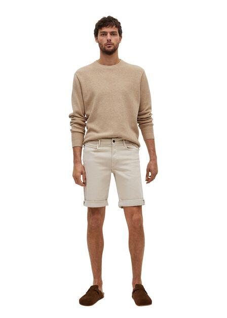 Mango - Light Beige Stretch Cotton Denim Shorts, Men