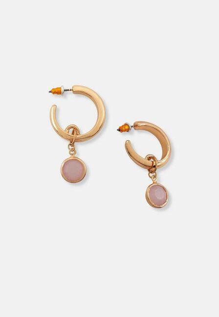 Missguided - Gold Look Thick Pink Drop Hoop Earrings, Women