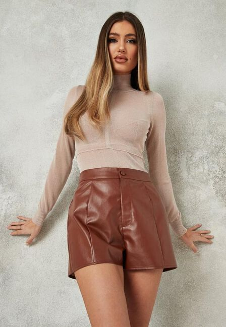Missguided - Brown Chocolate Faux Leather Seam Detail Shorts