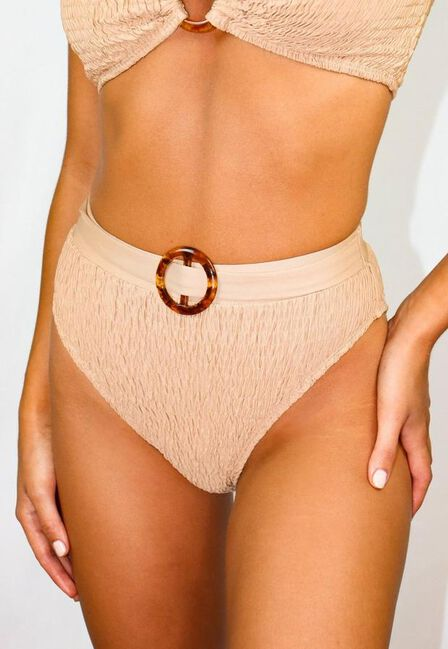 Missguided - Camel Camel Crinkle High Waisted Bikini Bottoms