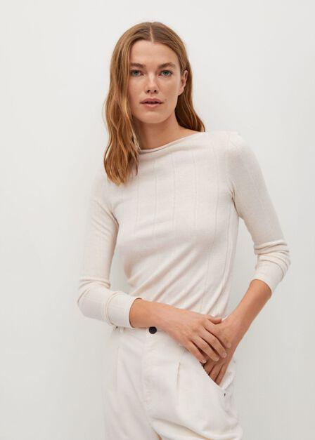 Mango - natural white Ribbed T-shirt