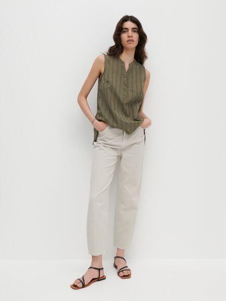 Reserved - Green Sleeveless Cotton Blouse, Women
