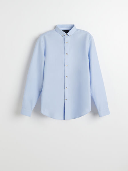 Reserved - Blue Structured Cotton Shirt, Men