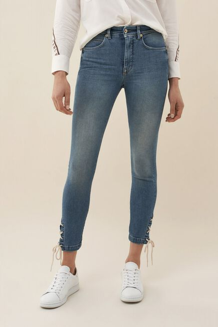 Salsa Jeans - Blue Push In Secret Glamour capri jeans with ribbon
