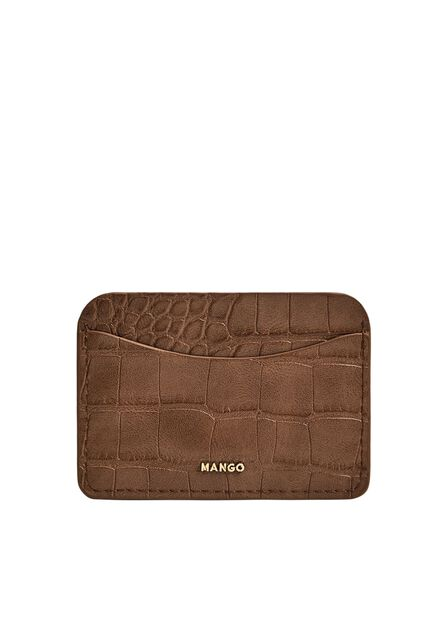 Mango - medium brown Croc-effect card holder, Women
