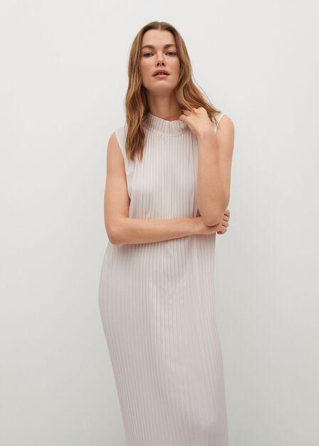 Mango - natural white Pleated midi dress