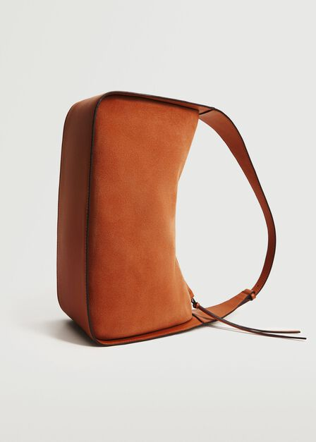 Mango - Medium Orange Leather Baguette Bag, Women