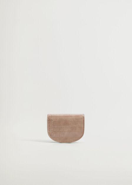 Mango - medium brown Croc-effect flap purse, Women