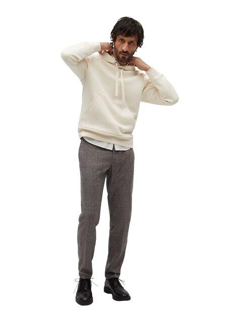 Mango - brown Check wool-blend trousers