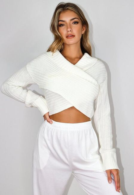 Missguided - White Wrap Front Jumper
