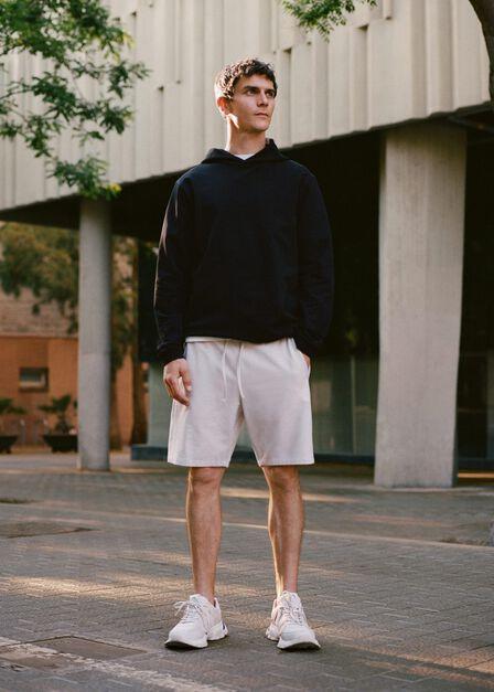 Mango - green Organic cotton jogging Bermuda shorts, Men