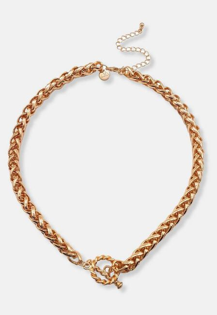 Missguided - Gold Look Ring T Bar Necklace, Women