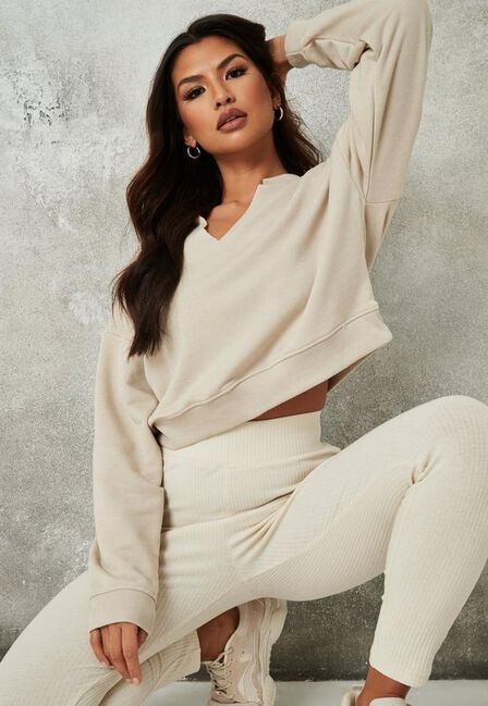 Missguided - Camel Sand Raw Edge Notched Neck Sweatshirt