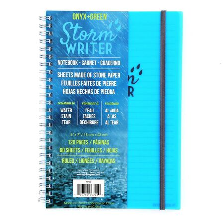 ONYX + GREEN - Onyx & Green Spiral Notebook Storm Writer 60 RuLED Stone Paper Sheets Tear and Stain Resistant Waterproof D2W