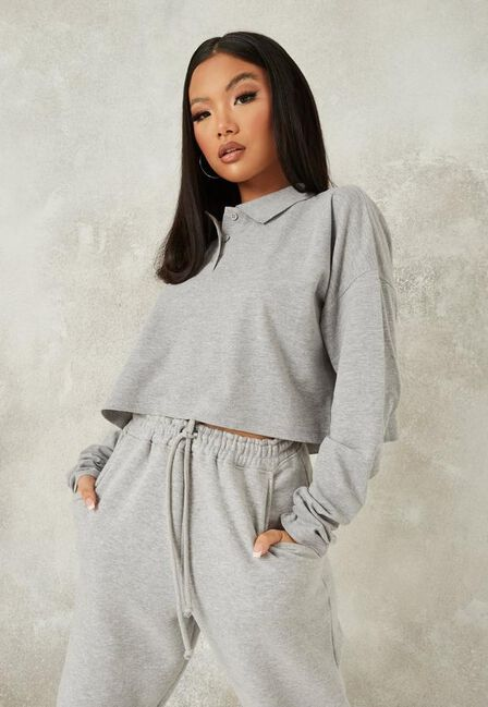 Missguided - Grey Marl Extreme Oversized Slouch Polo T Shirt
