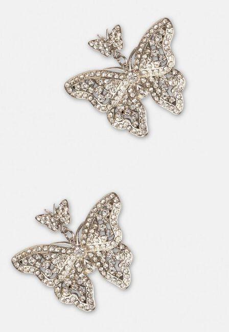Missguided - Silver Look Crystal Butterfly Earrings