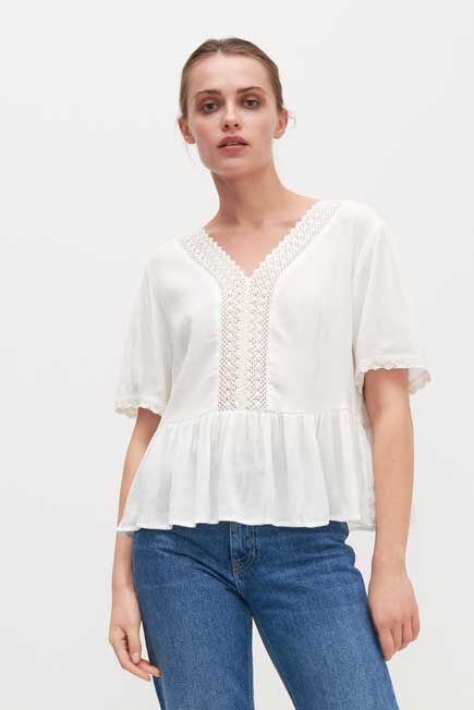 Reserved - White Blouse with lace and peplum hem