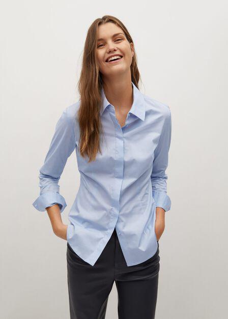 Mango - lt-pastel blue Essential cotton-blend shirt