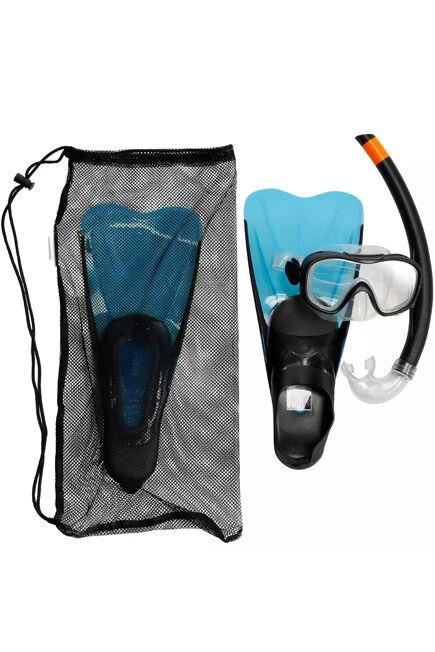 SUBEA - FMS 100 Freediving Snorkel Fins Mask Kit For Children - Blue Black, EU 30-31