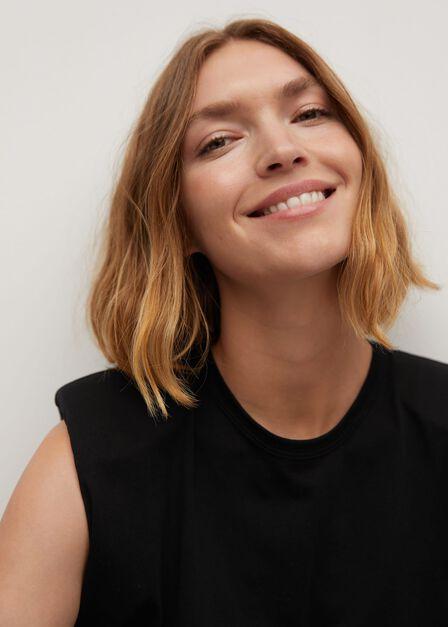 Mango - Black Organic Cotton T-Shirt With Shoulder Pads