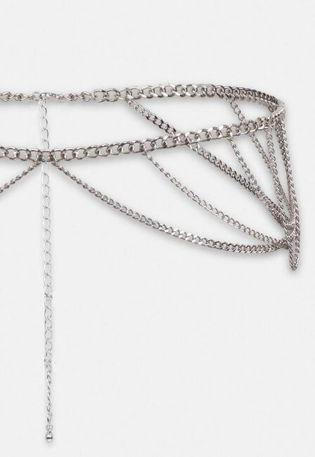 Missguided - Silver Look Chunky Chain Drape Belt