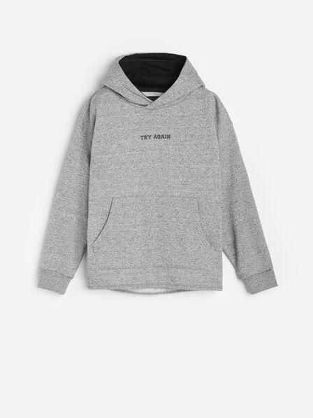 Reserved - Light Grey Melange Hoodie, Kids Boy