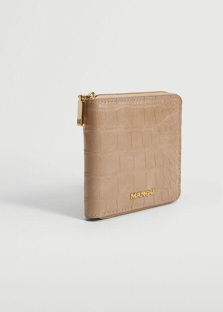 Mango - lt-pastel pink Croc-effect wallet, Women