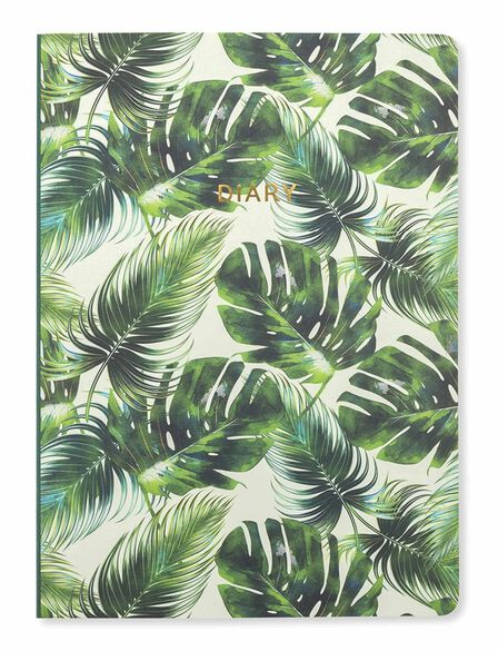 GO STATIONERY - Go Stationery Tropical Leaf Week To View 2018-2019 A5 Diary