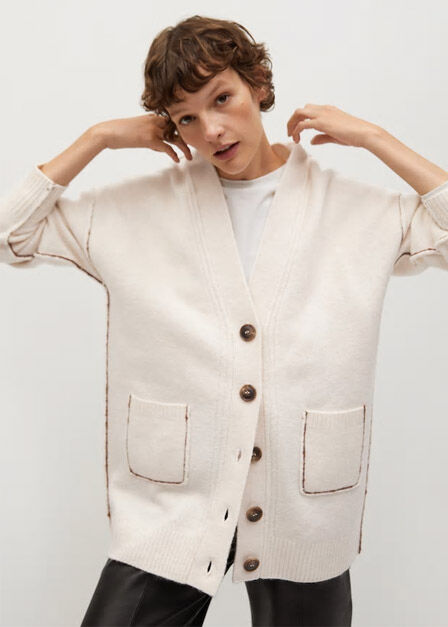 Mango - light beige Oversized cardigan with buttons