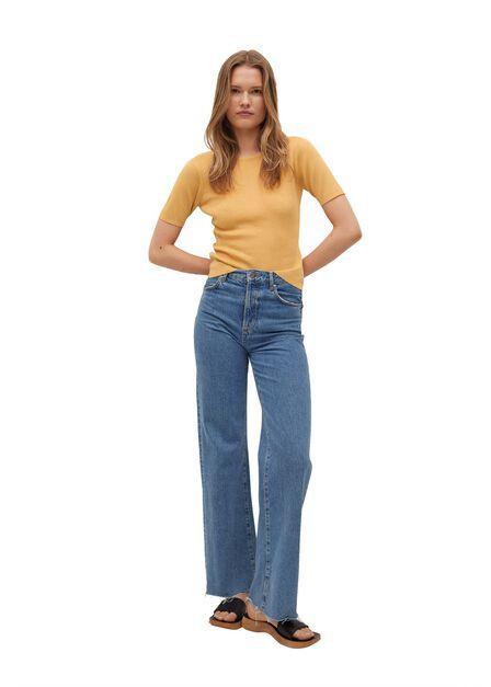 Mango - medium yellow Slit knit top, Women