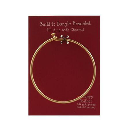 LUCKY FEATHER - Charm Builder Base Gold Bangle Bracelet