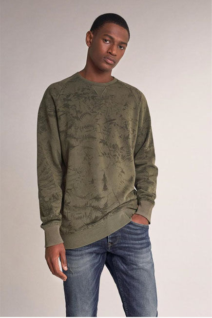 Salsa Jeans - Green Sweater with allover leaf print