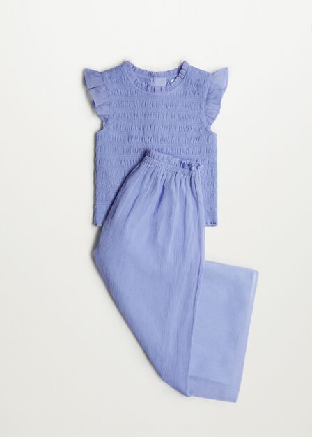 Mango - lt-pastel purple Ruched blouse with ruffles