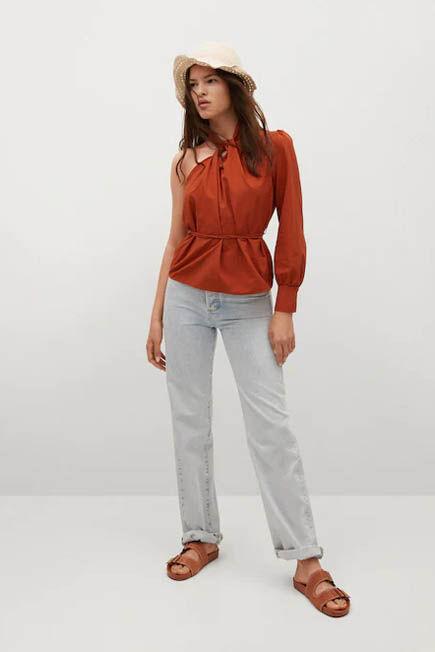 Mango - medium orange Asymmetric neckline blouse, Women