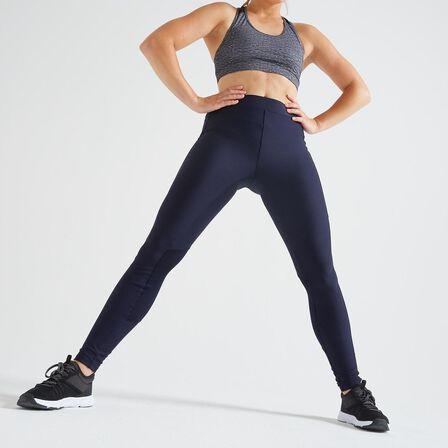 DOMYOS - W30 L31  120 Women's Fitness Cardio Training Leggings, Asphalt Blue