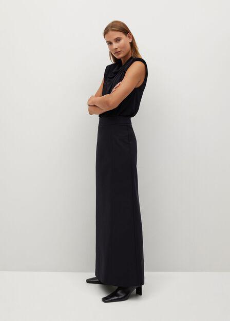 Mango - Black Flared Long Skirt
