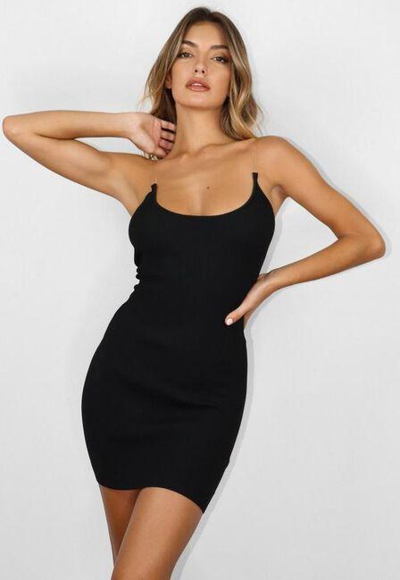 Missguided - Black Transparent Strap Knit Mini Dress