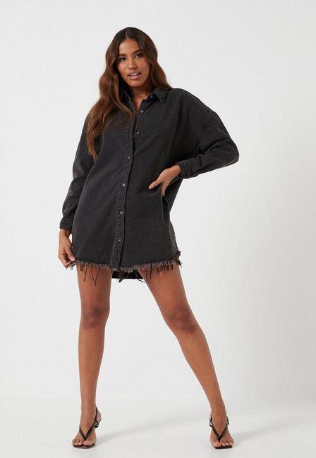 Missguided - Black Black Oversized Denim Shirt Dress