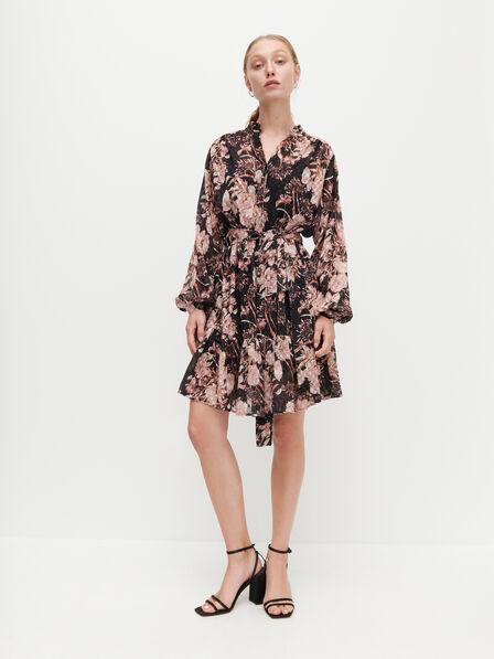Reserved - Ladies' Plumetis Dress With Floral Pattern - Black