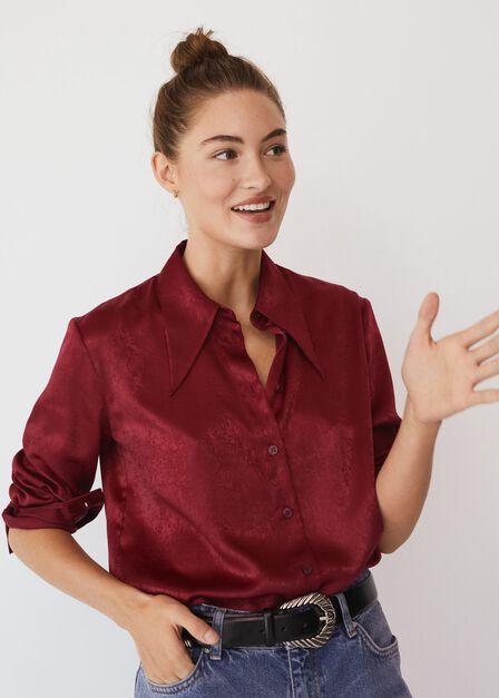 Mango - Dark Red Satin Shirt