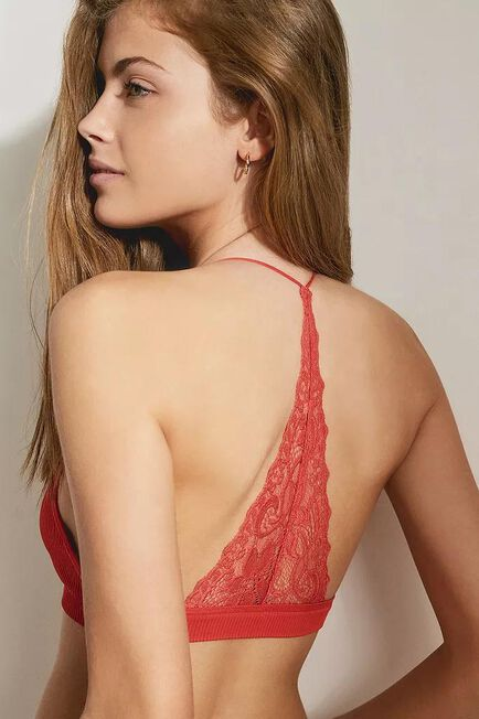 Urban Outfitters - Orange Out From Under Lacey Racerback Bralette, Women