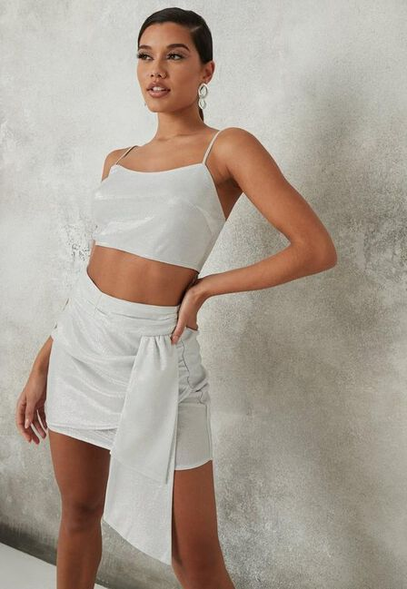 Missguided - Silver Glitter Co Ord Bow Detail Mini Skirt