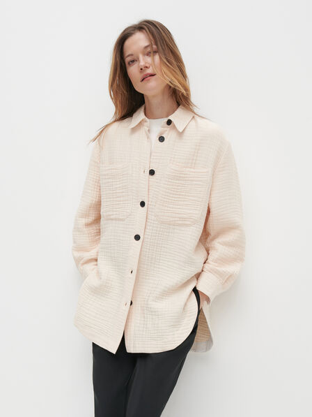 Reserved - Ladies' Structural Fabric Oversized Shirt - Beige