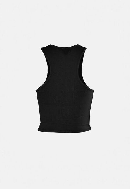 Missguided - Black Rib Racer Front Crop Top
