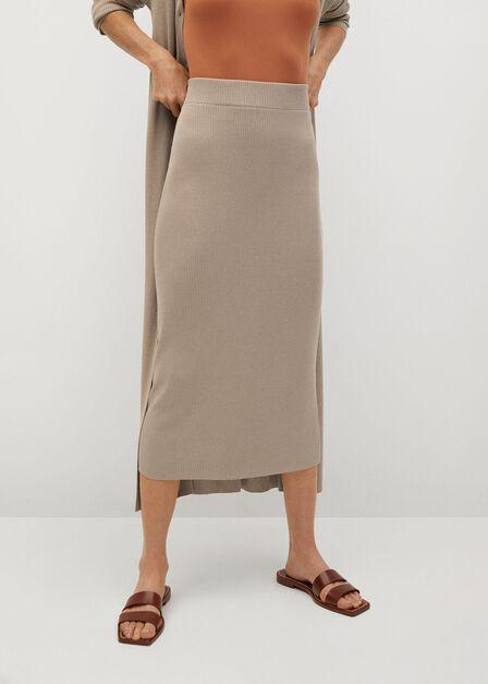 Mango - Pastel Grey Cable Knit Skirt