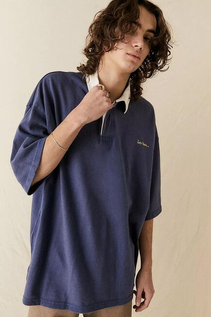 Urban Outfitters - Navy Iets Frans'.. Washed Rugby Polo Shirt