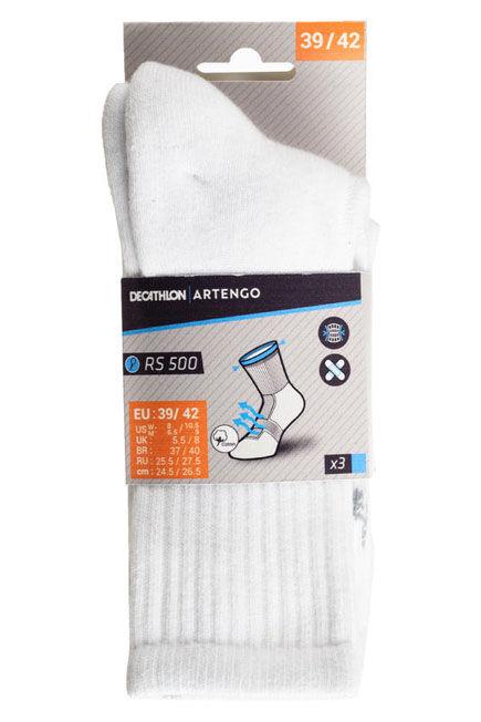 ARTENGO - Rs 500 high-rise sports socks tri-pack - white, EU 39-42
