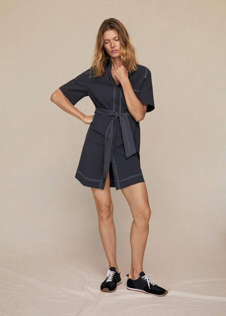 Mango - black Contrast seam dress, Women